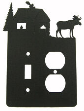 Moose Lodge Cabin Switch & Outlet Cover Plate Black