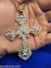 JESUS COLLANA CROCIFISSO ARGENTATO CROSS CROIX  RELIGIONE GIUSU VATICANO C: B 10