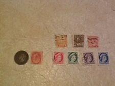 Queen Victoria Coin & Stamp 1886 1 Cent & 1898 2 Cent George IV &V 1908 1928 lot
