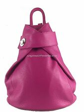 Vera Pelle Ladies Genuine Italian Leather Backpack Shoulder Bag Pink