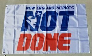New England Patriots flag 2018, NOT DONE YET, Super Bowl banner, Polyester WHITE