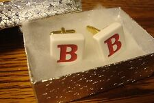 """"""" B """" Monogram Letter Initial Cuff links 1 Pair (Two) * White-Red & Gold Tone"""