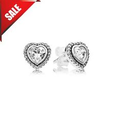 Genuine Pandora Sterling Silver Cubic Zirconia Heart Stud Earrings 290568CZ