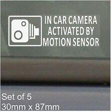 5 X en coche cámara activada Sensor De Movimiento stickers-cctv recording-car, Camioneta, Taxi