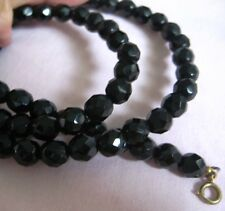 """Beads Necklace 1 Strand 23"""" Long Superb Black Onyx About 5Mm Faceted"""