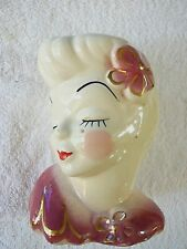 "NICE VINTAGE LADY HEAD VASE GLAMOUR GIRL ROSE FLOWER IN HAIR HEAD 6"" VASE USA"