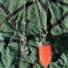 Natural Cherry Quartz Point Pendulum Pendant With Owl Charm Chain-Spirit Ghosts