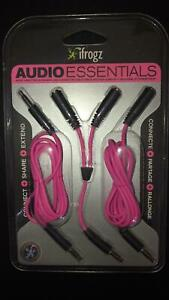 New iFrogz Audio Y-Splitter Extension connector for Phone or Headphones PINK