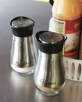 """4"""" Elegant Stainless Steel Salt and Pepper Shakers Set with Clear Glass Bottom"""