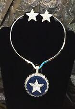 DALLAS COWBOYS STAR BLUE SILVER CRYSTAL JEWELRY SET
