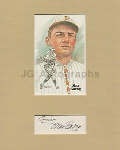 Max Carey - MLB Baseball, Hall of Fame - Signed Matted Display with HOF Card