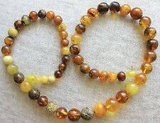 Vintage Antique Mix Color Round Beads Natural BALTIC AMBER NEW NECKLACE 45 gr.
