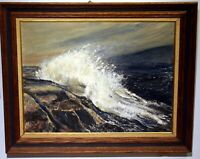 oil painting seascape crashing wave rocky coast signed Jean Healy frame 29x24