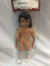 "Vintage Fibre Craft 13"" Female Porcelain Cloth Doll Dark Brown Hair Brown Eyes"