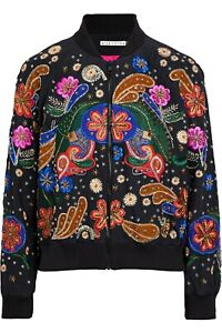 Alice + Olivia Felisa Embellished Silk Bomber Jacket Black Embroidered S NWOT
