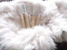 SHEEPSKIN LAMBSKIN RUG BRUSH. COMB REAL WOOD HANDLE. Pet, Cat Dog Horse Pony
