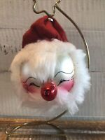 Vintage Italy De Carlini Blown Glass Santa Claus Red Nose Christmas Ornament