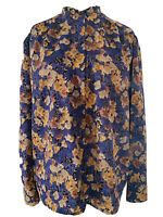 Jacques Vert Vintage Multi Floral Blouse Button Down Chiffon Retro Art Size 16