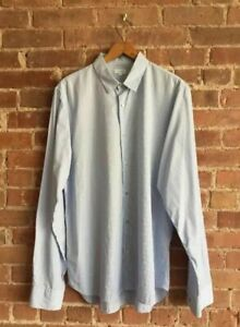 Jil Sander Men's Blue Stripes Shirt Size 43/17 Fitted, Blue Italy