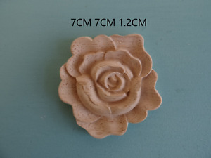 Decorative large wooden rose applique chic furniture mouldings onlay decal DW1