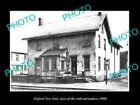 OLD LARGE HISTORIC PHOTO OF OXFORD NEW YORK, THE RAILROAD DEPOT STATION c1900