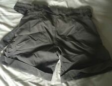 LLadies grey striped high waist tailored shorts by Vintage casual.10