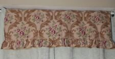 """Ruffled Floral Cotton Window Valance Browns Green and Rose Pink 84""""x 24"""""""