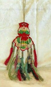 ANTIQUE CHINESE  Appliqué Silk Red SCENT PURSE BAG 19th  POUCH Tassels