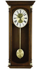 Seiko Executive Analog Quartz Brown Solid Oak Case Chiming Wall Clock QXH069BLH