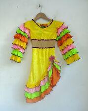 HALLOWEEN Flamenco Dancer Childs Costume Size 4 Colorful Ruffled Dress Headband