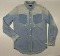 Gstar Raw Factory Distressed Pearl Snap Button Blue Denim LS Shirt Size M