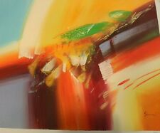 Signed Original Modern Art Multi Color Abstract Oil Painting On Canvas by Sam W.