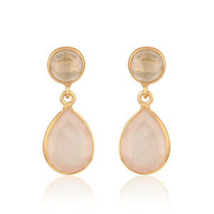Pear Rose Quartz Gemstone Yellow Gold Plated Silver Drop Earrings Jewelry