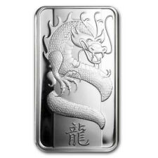A pair (2 items) of 1 oz 2012 PAMP Suisse Year of the Dragon Silver Bar