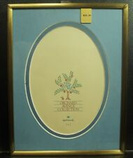 Plain gold metal picture frame glass blue oval mat 5x7 Orchard Avenue Collection