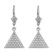 14K White Gold Egyptian Pyramid Triangle Drop/Dangle Leverback Earrings