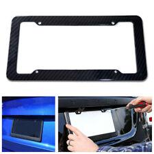 Black Carbon Fiber License Plate Frame Tag Cover Protection Rack Standard Fit TB