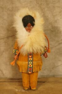 Vintage Native American Indian Theme Hard Plastic Character Doll