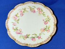 Haviland Limoges China Ring of Roses with gold trim dinner plate