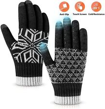 New listing Winter Gloves Touch Screen Warm Knit Gloves, Soft Wool (Black,Size:OneSize)