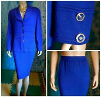 ST JOHN Collection Knits Royal Blue Jacket Skirt L 12 10 2pc Suit Buttons Collar