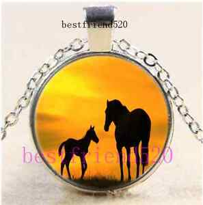 Sunset  Horse Photo Cabochon Glass Tibet Silver Chain Pendant Necklace