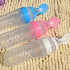 Silicone Baby Kids Squeeze Feeding Bottle Spoon Food Rice Cereal Feeder Cup 90ML