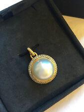 New David Yurman Diamond Pearl 18K 750 Gold Enchancer Pendant Necklace