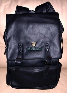 ROLEX XL BACKPACK WITH USB PORT ECO LEATHER BLACK COLOR NEW
