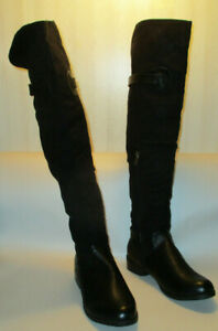 "Luichiny Pom-A-Grant Womens 9M Black Zip Flat Heel 16"" Wide Calf, 16"" Tall Boots"