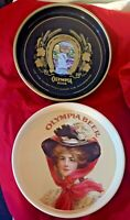 Lot Of 2 VTG OLYMPIA BREWING BEER CO BLACK GOLD GOOD LUCK HORSESHOE WOMAN IN HAT