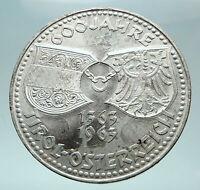 1963 AUSTRIA Tyrol and Austrian Shields Genuine Silver 50 Shilling Coin i82666