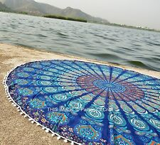 Indian Round Mandala Table Cloth Handmade Cotton Yoga Mat Tapestry Bohemian 72""