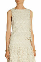 Alice + Olivia Amal Guipure Lace Top Blouse Ivory Floral Cut Out size XS